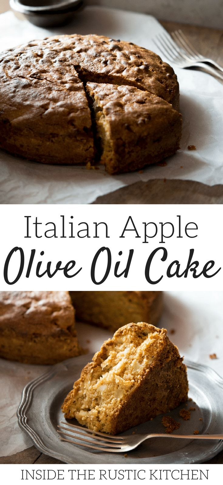 A rustic Italian apple olive oil cake recipe made with cinnamon and sultanas it's absolutely perfect for breakfast or dessert with a hot cup of coffee. Find the recipe for this authentic Italian apple olive oil cake and more traditional Italian recipes at Inside The Rustic Kitchen.