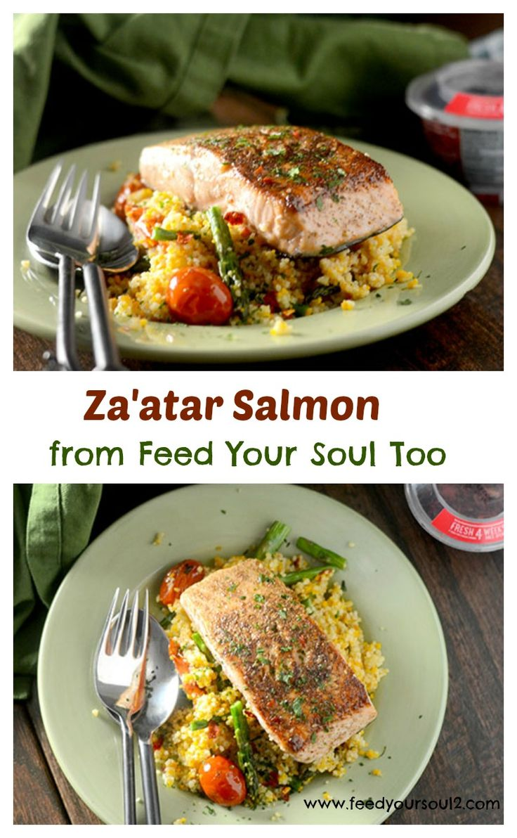 Za'atar Salmon with Cous Cous from Feed Your Soul Too Seafood   Middle Easter   Cast Iron Skillet