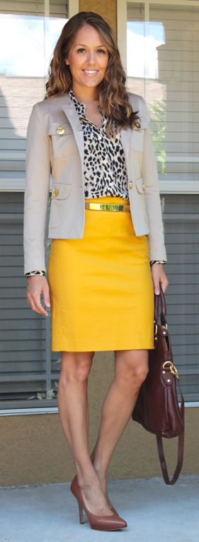 Jacket: Spiegel; Top: C. Wonder; Skirt: J.Crew; Belt: The Limited; Shoes: Nine West