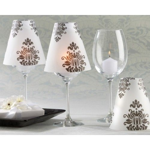 Making lamp shades for wine glasses these mini lamps are made with wine glasses velum shades and tea candles what a great wine glass craft