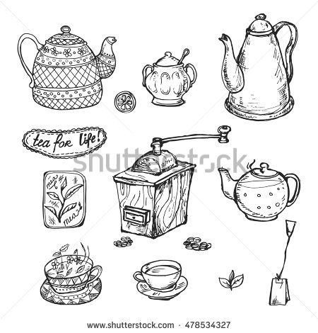Set of vector cartoon images of coffee and tea cups. It can be used for design of cafe and restaurants, drawing the grinder, a cup with a drink, coffee stains.