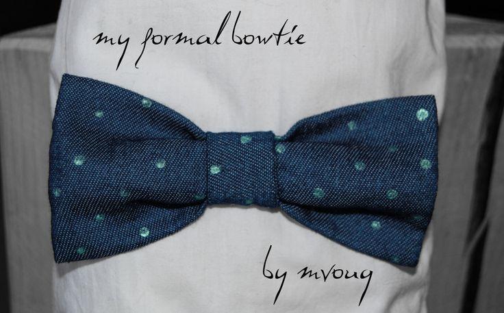 Bowtie, Hand Painted Dots in Lightweight Denim by MrsDarksidesArtWork on Etsy