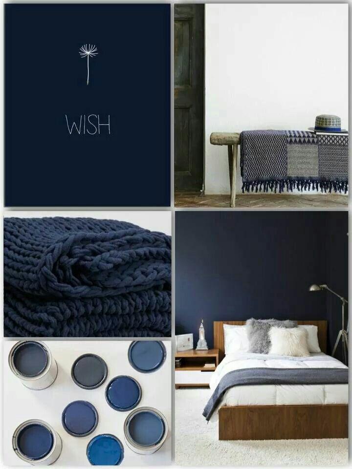 17 beste idee n over donkerblauw slaapkamers op pinterest blauwe slaapkamers blauwe - Wallpaper volwassen kamer trendy ...