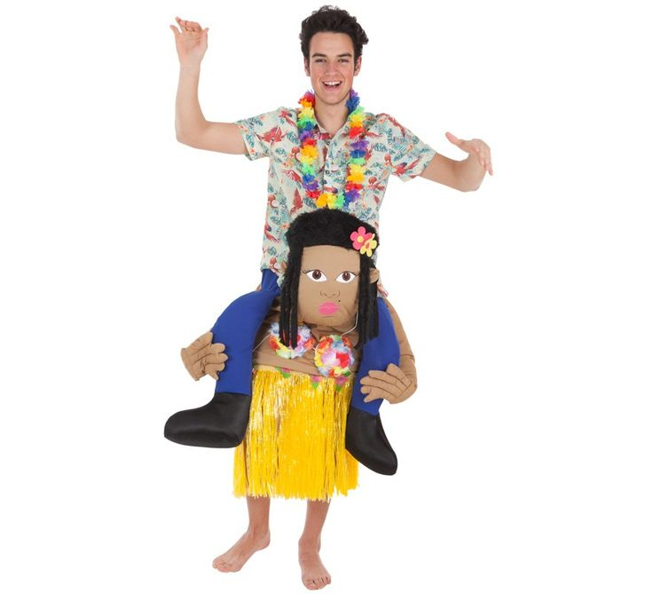 Disfraz de turista a hombros de hawaiana. Los disfraces Carry Me están de moda, lúcete y diviértete en las fiestas hawaianas con este disfraz súper original.
