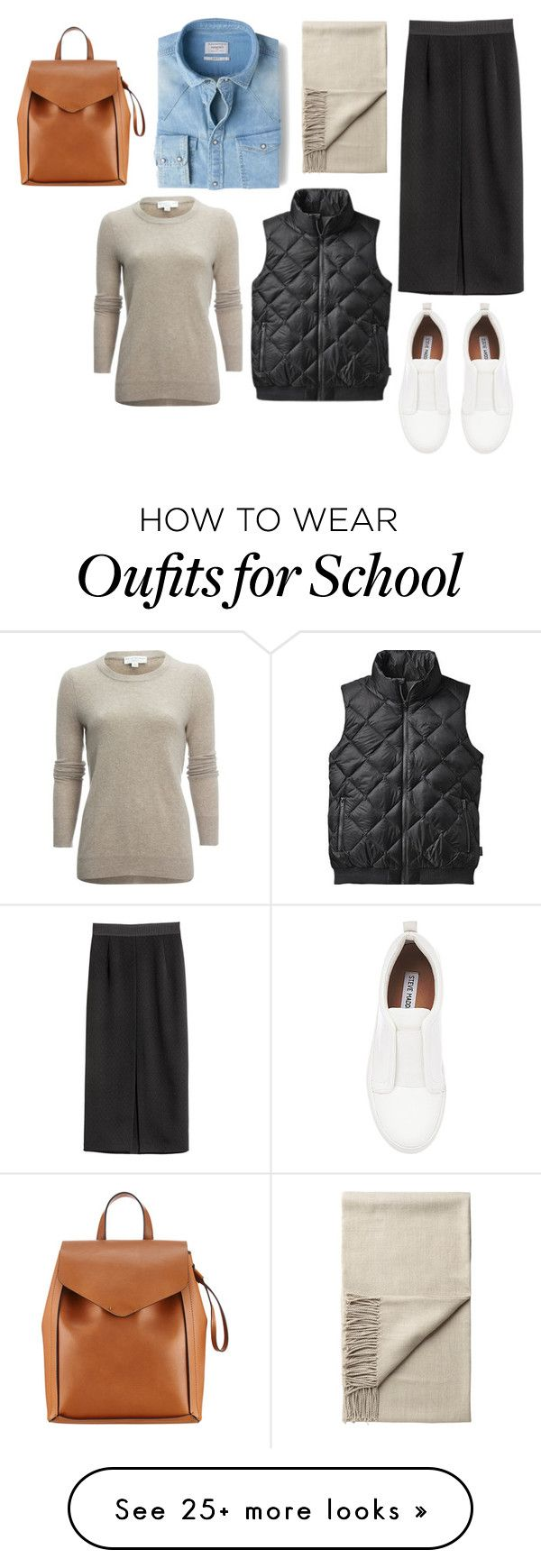 """""""Just Another Day at School"""" by design360 on Polyvore featuring Monki, MANGO, White + Warren, Patagonia, Steve Madden and Loeffler Randall"""