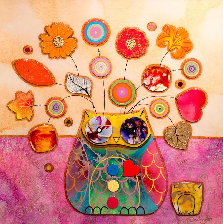 Kerry Darlington painting Owl Pot Series