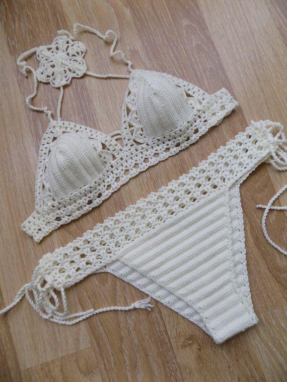 Crochet swimwearOff White cream Crochet by cheerfulboutique