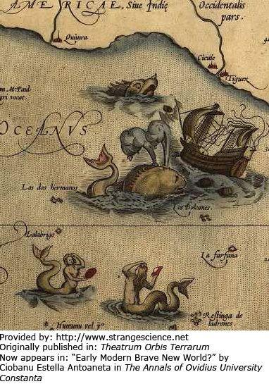 Año: 1570. Científico/artista: Abraham Ortelius. Publicado originalmente en: Theatrum Orbis Terrarum. Ahora aparece en: Monstruos del mar por Richard Ellis. En este fragmento de un mapa de Islandia por un cartógrafo muestra monstruos marinos que...