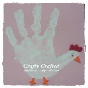 Handprint farm animals farm animal crafts made with for Rooster craft for kindergarten