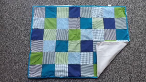 Blues Patchwork Blanket by LittleTsTextiles on Etsy