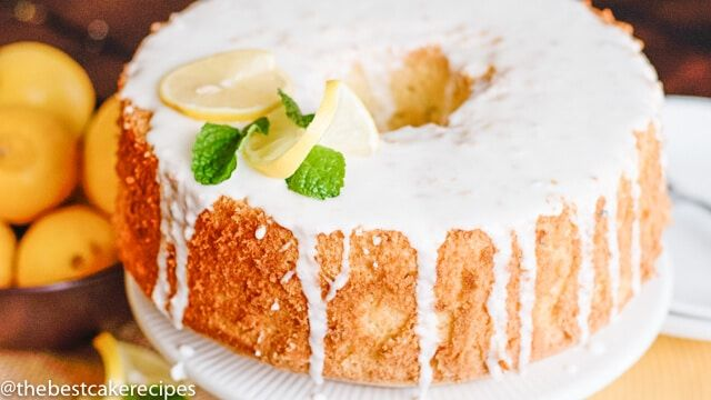 Light, fluffy, lemon chiffon cake made with fresh lemons. Make a simple lemon glaze to top the cake for a simply gorgeous lemon dessert recipe.