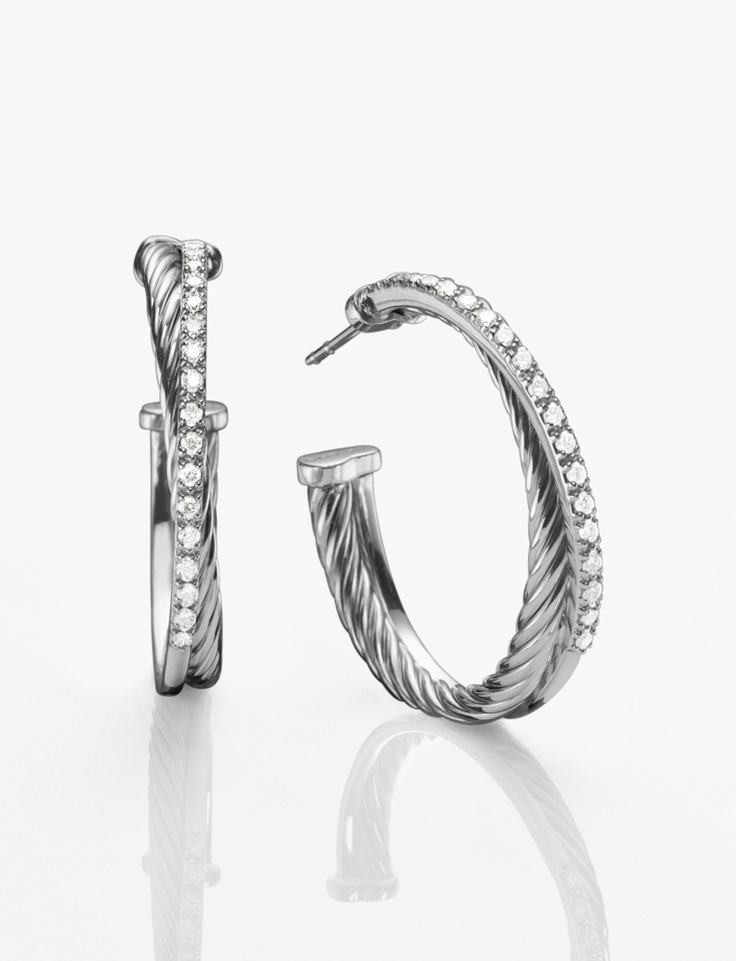 Hoop Earrings From The Crossover Collection Integrate Cable Quintessential David Yurman Motif
