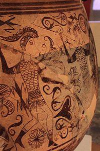 Cerámica ibérica - Wikipedia,  Detalle del Vaso de los Guerreros del yacimiento de Tosal de San Miguel, antigua Edeta.