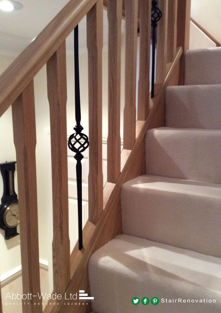 Beautiful Chamfered Oak Spindles With Metal Basket Spindles Makes An  Elegant Combination With Stairway Basket