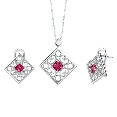Princess Cut Ruby Pendant Earrings Set in Sterling Silver Rhodium Finish . $43.99. Save 60%!