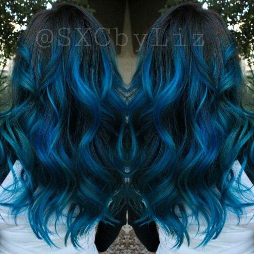 Blue hair ombre Balayage highlights long hair