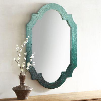 Ombre Mother-of-Pearl Quatrefoil 26x40 Mirror
