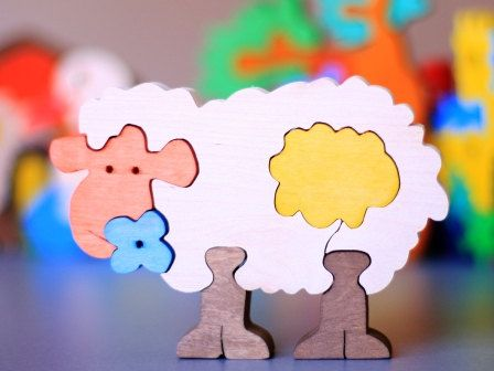 SALE Easter Set of 3 puzzles for the special price. Colorful Wooden Puzzle.Handmade kids toy. Wooden ecofriendly handmade toys for children. via Etsy.