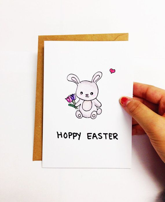 Cute Easter card, funny Easter card, Easter bunny card, Easter rabbit card, happy Easter card, tulip card, pun card, hand drawn card by LoveNCreativity