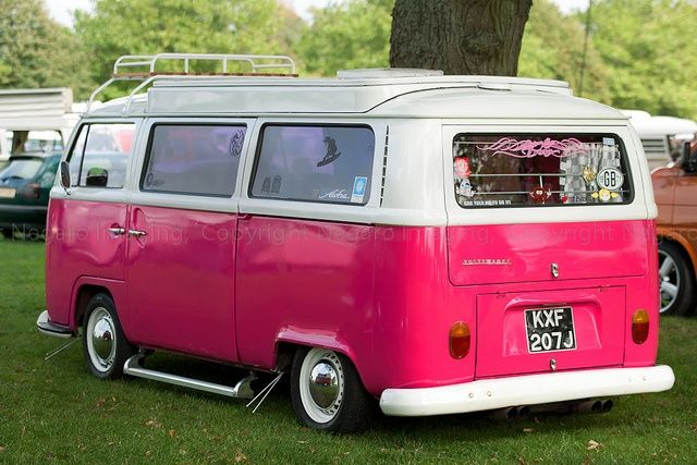 Hot pink and white VW bus