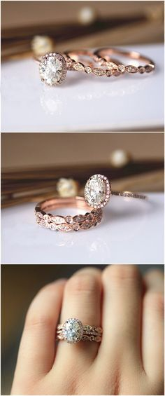 Oval Brilliant Moissanite Ring Set Wedding Ring Set Solid 14K Rose Gold Ring Set. http://jangmijewelry.com/