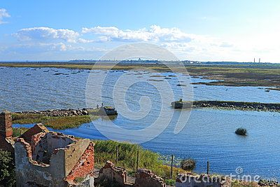 View of the entrance to the bay at the 1 North Fort near Kronshtadt on a sunny day. Saint-Petersburg, Russia