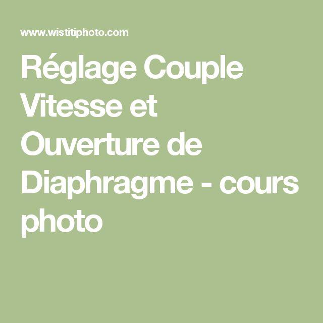 Réglage Couple Vitesse et Ouverture de Diaphragme - cours photo