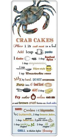 Crab Cakes Recipe 100% Cotton Flour Sack Dish Towel Tea Towel