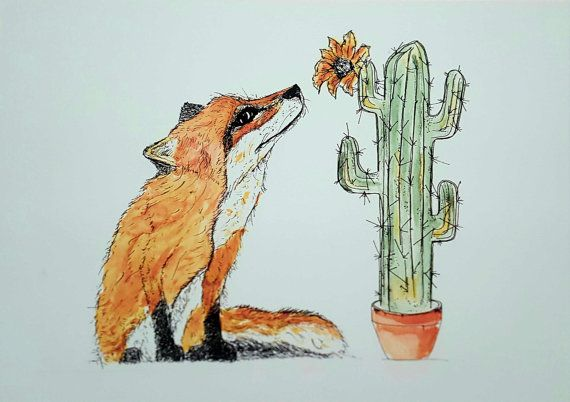 Fox and Cactus Print fox printnursery by jessicasarahdesign