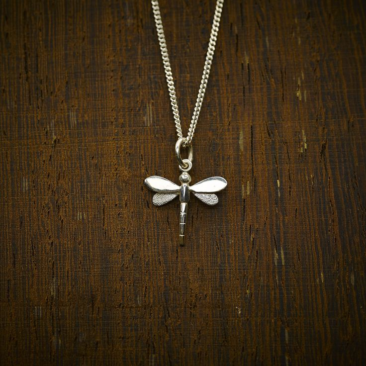 Sterling silver mini dragonfly pendant