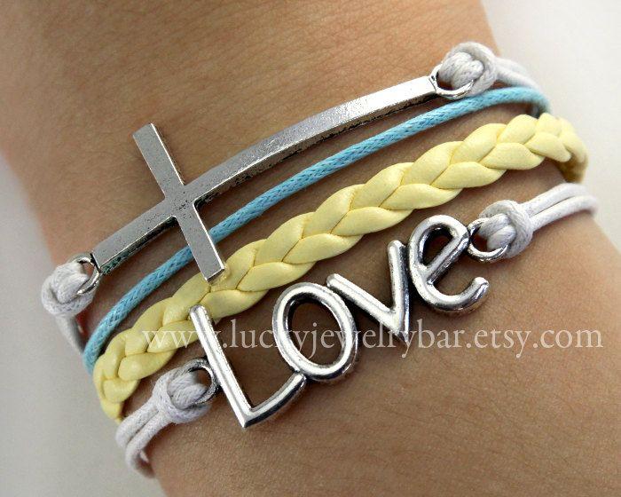 karma  cross bracelet Love bracelet antique by LuckyJewelryBar, $5.99