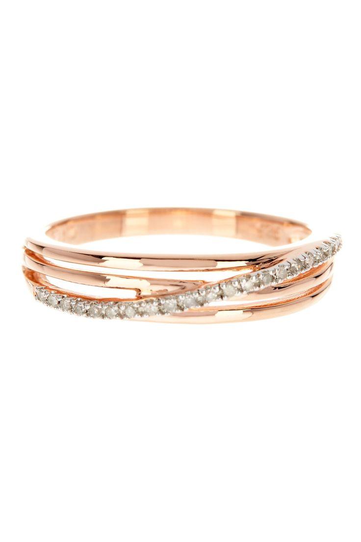 Two-Tone Pave Diamond Overlay Triple Strand Ring - 0.06 ctw on @HauteLook