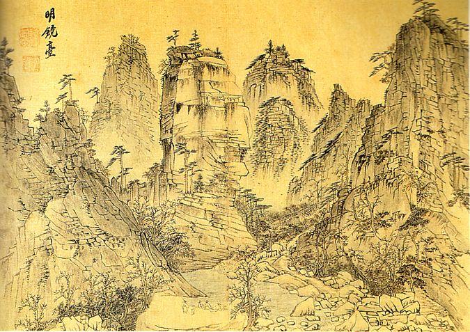 [ 명경대 (1788) ]  정선이 그린 금강산 그림과 비견되고 있는 김홍도의 금강산 그림인 명경대. 그 또한 금강산 관광 후에 이 그림을 그렸는 데요. 정선이 실제로 경치를 마주하고 나서 자신의 감정을 담아 그림을 그린 것에 비해 김홍도는 자신의 감상보다는 실제의 모습을 중시하여 그림을 그렸습니다. 과장되지 않았음에도 불구하고 그가 그린 금강산은 실로 절경이라 아니할 수 없습니다.