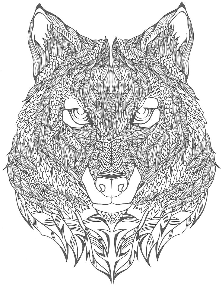 Coloriage Adulte Loup.Coloriage Anti Stress Loup