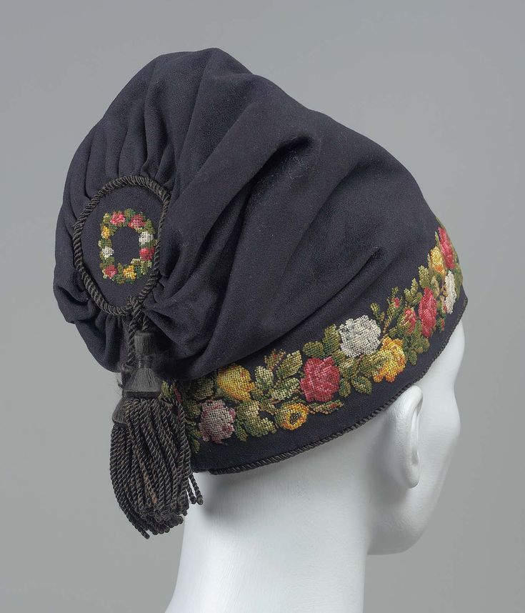 *  American Man's smoking cap Fulled wool embroidered with wool, silk tassel, plain weave silk lining 19th century