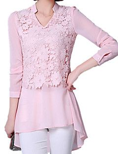 Spring Summer Women's Sexy Sexy V Neck Lace Splice Chiffon Long Sleeve OL Long Shirt Casual Blouse Tops