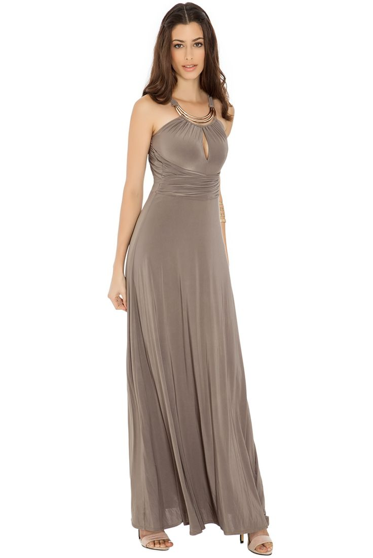"MOCHA OPEN BACK MAXI DRESS A grecian inspired maxi dress with a cross over waist sash which flatters your waistline. Adjustable strap fastening at back. Gold toned metal detail at neck. Slash neck. Open back. Elasticated waist. Fully lined. Pull on style. Model is 5""9.5 and wears a size S. Made From: 92% polyester, 8% elastane. Lining - 100% polyester Length: Side seam (under arm to hem) measures 128cm.  SIZING INFORMATION Need help deciding what size you need? For our Size Chart click here…"