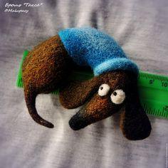 Купить Броши-собаки для примера, сухое валяние - рыжий, пес, собака, щенок, бассет-хаунд