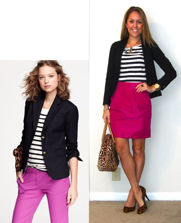 Preppy pink + navy + leopard + stripesEasy Recipe, Everyday Fashion, Pink Skirts, Hot Pink, Pink Leopard, Js Everyday, Work Outfit, J S Everyday, Black Blazers