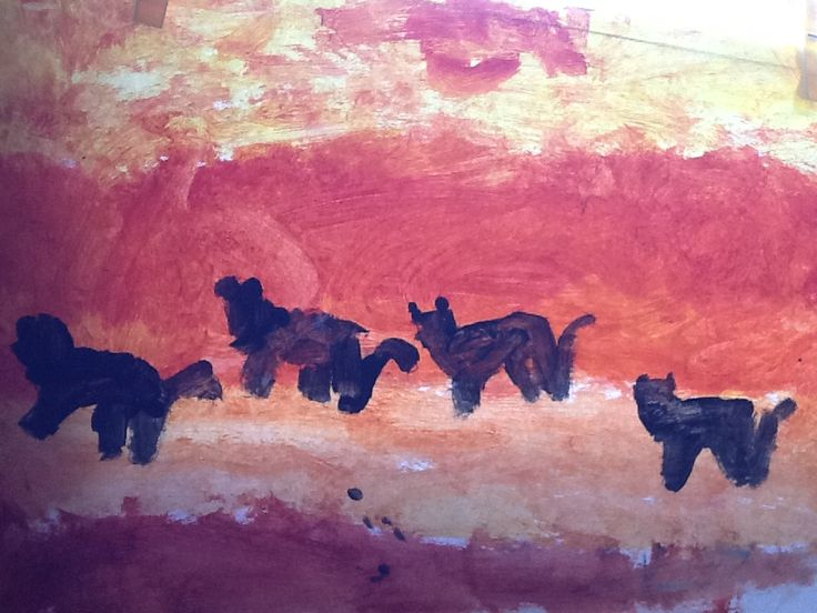 African artwork- sunset and cheeters (Yr1)