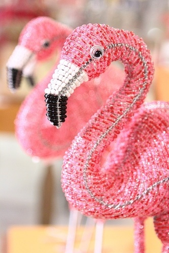 Flamingoes. Next time I go to Brandon mall I'm going to buy one that looks just like this, about 14 inches tall.
