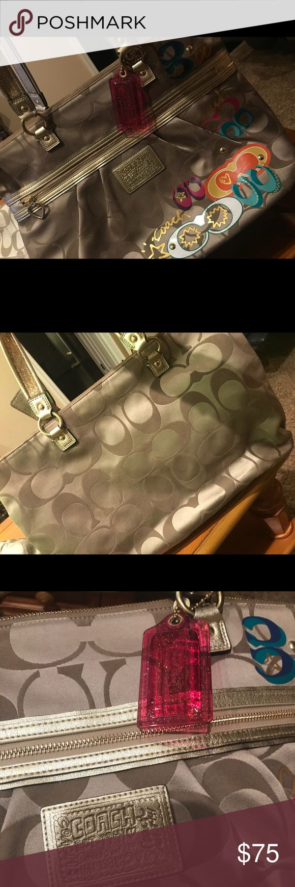 Coach Pocketbook Large Coach pocketbook. 2 Large Zippers with pink interior Great as a day bag Great condition  Willing to negotiate Coach Bags
