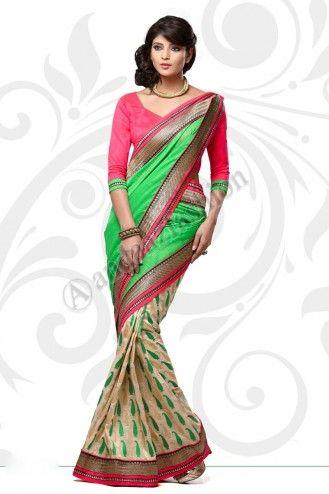 Vert, Blanc, Manipuri Saree design n ° DMV7552 Prix: - 56,77 € robe Type: Saree Tissu: Manipuri Couleur: vert avec Blanc Décoration: brodé, Plaine Pallu Pour plus de détails: - http://www.andaazfashion.fr/green-white-manipuri-saree-with-red-jacquard-blouse-dmv7552.html