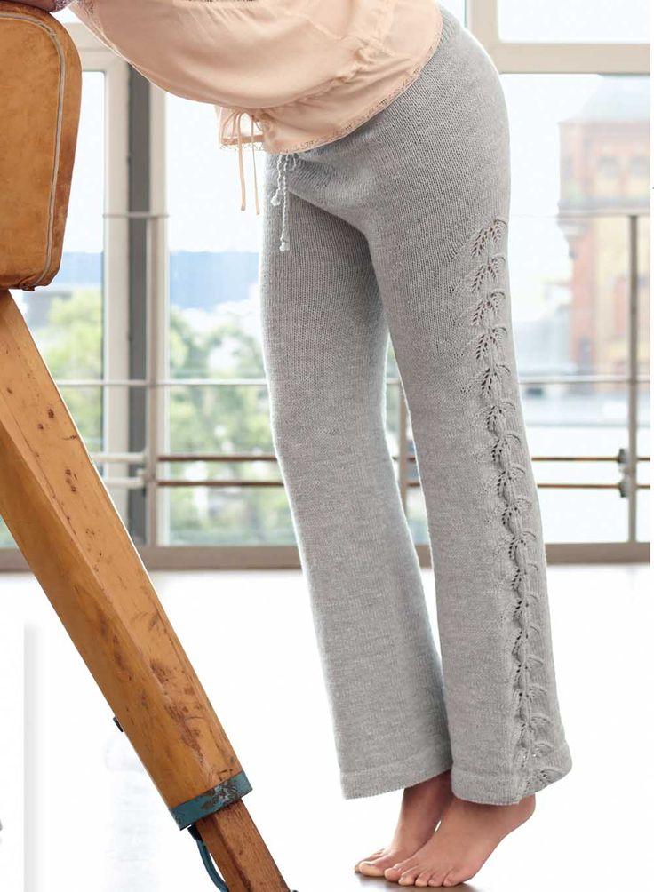 Схема и описание вязания на спицах брюк с ажурным узором из журнала «Verena» №3/2015