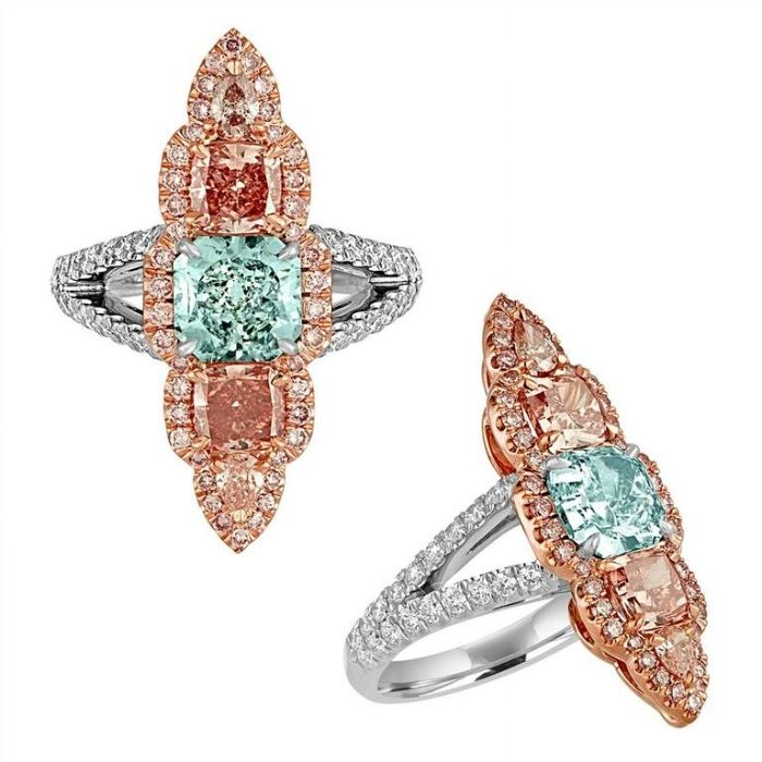 Gift Guide: 10 Over The Top Diamond Gifts - unique colored diamond engagement ring  - fancy colored diamonds, green diamond