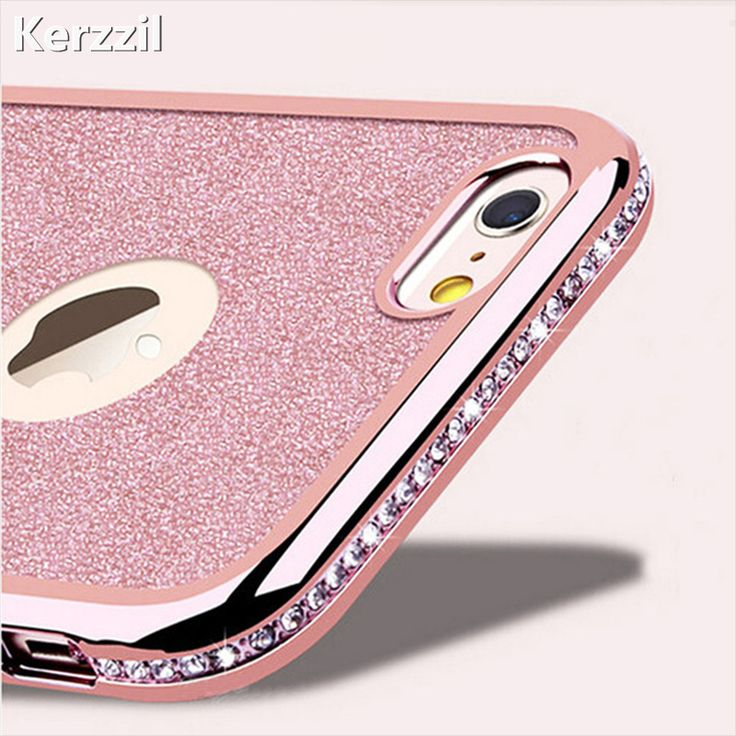 Kerzzil Diamond Case + Bling Shining Card Cover For iPhone 7 6 6S Plus 5s SE Rhinestone Soft Phone Back For iPhone 6 7 6S 5S