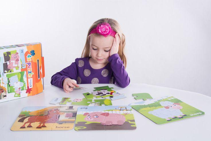 Puzzle se zvířátky V kufříku Vaše děti najdou čtyři obrázky puzzle, řazené podle obtížnosti.  Nejprve děti skládají 4 dílky potom 6 dílků, dále 9 a nakonec 12 dílků.