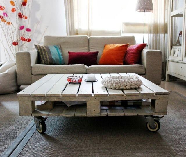 58 best Pallet meubels zelf maken !!!!! images on Pinterest - wohnzimmertisch mit rollen