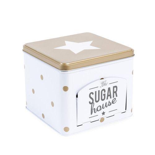 Boîte à sucre en métal blanche/or SUGAR HOUSE