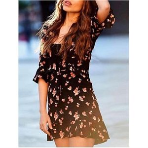 2d8dd609836e Black Cotton Plunge Cherry Print Ruffle Trim Chic Women Mini Dress |  Victoriaswing